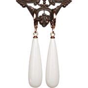 White crystal drop earrings gold plated ear wire.