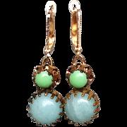 Green turquoise cabochon earrings brass bezel gold plated ear wire