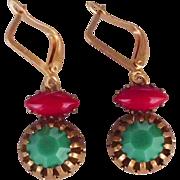 Green red cabochon earrings brass bezel gold plated earwire