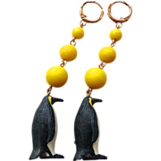 Rubber penguin yellow glass beads earrings gold filled earwire