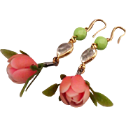 Designer earrings vintage pink flower green crystal gold plated ear wire