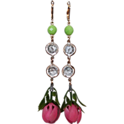Earrings pink flower green crystal gold plated ear wire