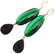 Aurora green black plastic earrings design gold plated ear wire