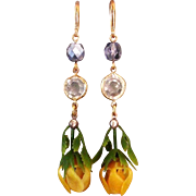 Yellow flower violet Czech crystal bead gold plated ear wire earrings