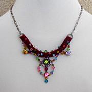 Costume crystal pendant on velvet choker. High end necklace design