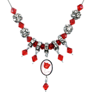 Red tulip cameo sterling silver pendant crystals rhinestones necklace