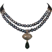 Gray freshwater pearls leather choker agate aventurine pendant