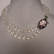 Rose cameo silver pendant on crystal classy necklace. Romantic fashion jewelry.
