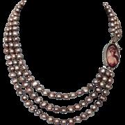 Feminine portrait cameo sterling silver pendant designer pearl necklace