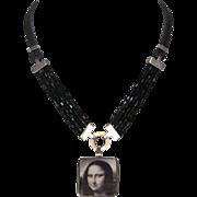 Mona Lisa ceramic cameo silver pendant Czech beads leather designer necklace