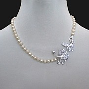 Romantic Contemporary jewelry. Designer necklace of pearls and sterling silver pendant.