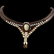 Couture leather choker silver pendant labradorite cabochon Swarovski rhinestones Czech crystal