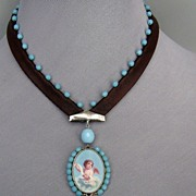 Designer jewelry. Romantic   contemporary necklace. Cameo silver pendant.