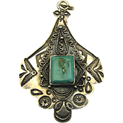 Vintage Fred Harvey Navajo Sterling Silver Turquoise Pendant Necklace