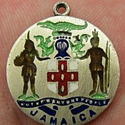 Early Vintage Sterling Enamel JAMAICA Charm Highly Detailed Figures Crest