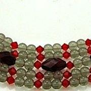 Vintage SIGNED HATTIE CARNEGIE Huge Jeweled Clasp Beaded Beauty