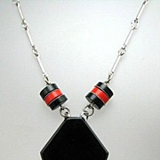 TRUE Art Deco JAKOB BENGEL Chrome & Galalith Modernist Necklace