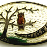 Antique Sterling Enamel Scenic Digby Halloween Souvenir Pin