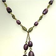 Art Deco Purple Slag Art Glass Bead Czech Necklace