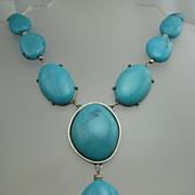 HUGE Designer signed Faux Turquoise Art Necklace