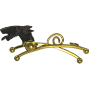 True Art Deco Bakelite & Brass Happy Dog Czechoslovakia Pin