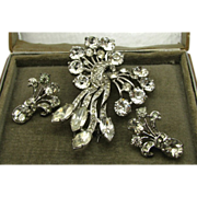 Large Early Sterling Eisenberg Fur Clip & Earrings Box
