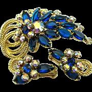 Vibrant Blue Juliana Rhinestone Pin & Earrings