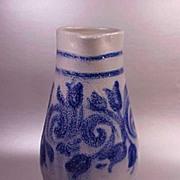 Large Grey Cobalt Salt Glaze Hand Made Pitcher or Jug