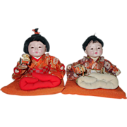 Vintage 1960's Japanese Gofun Ichimatsu Baby Doll Twins ~ All Orig w/ Character Faces ...