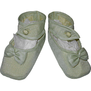 Vintage Pale Jade Green Silk Ankle Strap Baby or Doll Shoes from Japan