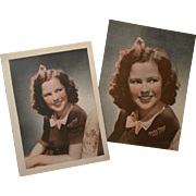 Pair of 1940's Shirley Temple (MGM Pictures) Give-Away Pictures Unused Old Stock