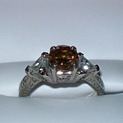 SALE Chocolate Cognac Diamond and White Zircon Art Deco Ring