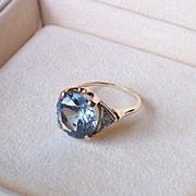 Circa 1940 Synthetic Cornflower Blue Sapphire and 14 Karat Gold Ring