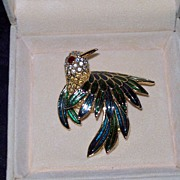 REDUCED Crystal and Enamel Bird Pin