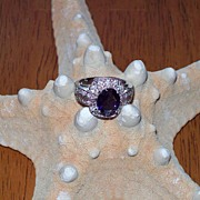 REDUCED Iolite and Diamond Ring in 14 Karat white Gold