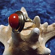 SALE Sardinian Red Coral and 8 Karat Gold Ring