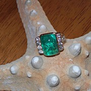 REDUCED Retro Period Style Emerald and Diamond Ring