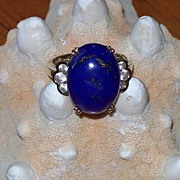 REDUCED Lapis and White Sapphire Ring in 10 Karat Yellow Gold