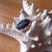 SALE Carved Black Tibetan Jade 14 Karat Gold Enhancer Pendant