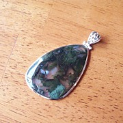 REDUCED Gigantic Moss Agate Pendant set in Sterling Silver