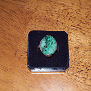 SALE Jadeite and Tri Colored 18 Karat Gold Estate Ring - Circa 1920