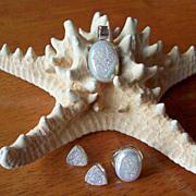 REDUCED Shimmering White Druzy, Earrings/Ring/Pendant Set