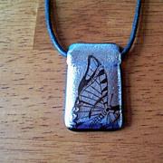 SALE Glass Butterfly & Black Silken Cord Necklace