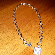 SALE Vintage Sterling Toggle and Tag Style Necklace