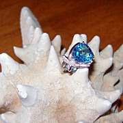 SALE Trillion Cut Swiss Blue Topaz in 14 Karat  White Gold