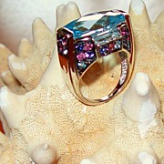 "SALE Cushion Cut Swiss Blue Topaz and Multi-Stone ""Carnival Ring"" ~ 14 Karat White G"