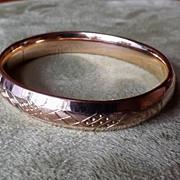 REDUCED Gold Filled Vintage Carved Bangle