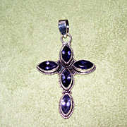 SALE Tanzanite and Sterling Silver Cross