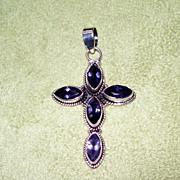 SALE Tanzanite and Sterling Silver Cross