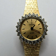 SALE Vintage Solid 14 Karat Yellow Gold & Diamond Concord Ladies Watch